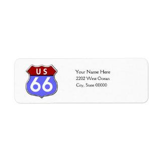 Etiqueta legendaria del remite de la ruta 66 de etiqueta de remitente