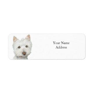 Etiqueta linda de Avery del perro de Westie Etiquetas De Remite