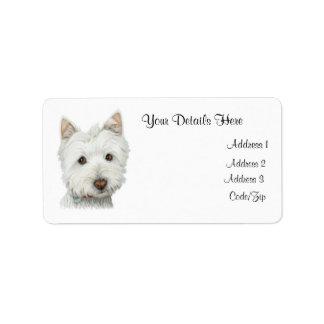 Etiqueta linda de Avery del perro de Westie