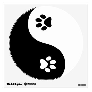 Etiqueta linda de la pared de las patas de Yin
