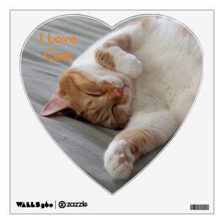 Etiqueta linda de la pared el dormir del gato vinilo adhesivo