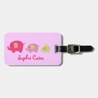 Etiqueta linda del bolso de los chicas de los etiquetas para maletas