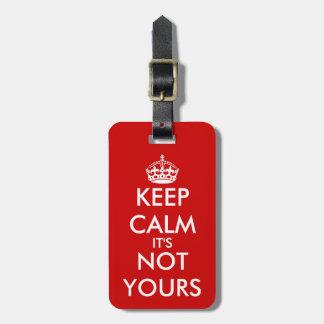 Etiqueta linda del equipaje de KeepCalm para los v Etiquetas Para Maletas
