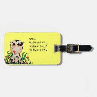 Etiqueta linda del equipaje de la vaca del bebé etiquetas maletas