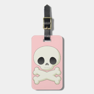 Etiqueta linda del equipaje del rosa del cráneo etiqueta de equipaje