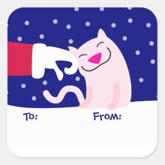 Etiqueta linda del gato y del regalo de Santa