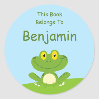 Etiqueta linda del libro de la rana verde