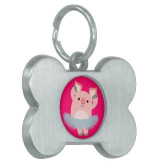 Etiqueta linda del mascota del cerdo de la placas mascota