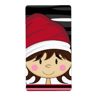 Etiqueta linda del pegatina del duende del navidad etiqueta de envío