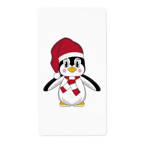 Etiqueta linda del pegatina del pingüino del etiquetas de envío