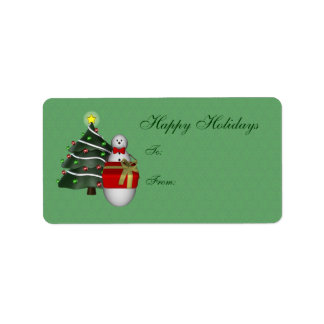 Etiqueta linda del regalo de vacaciones del árbol  etiqueta de dirección