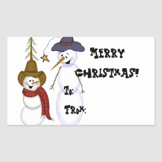 Etiqueta linda del regalo del muñeco de nieve del