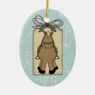 Etiqueta linda del regalo del recuerdo de la nieve adorno navideño ovalado de cerámica
