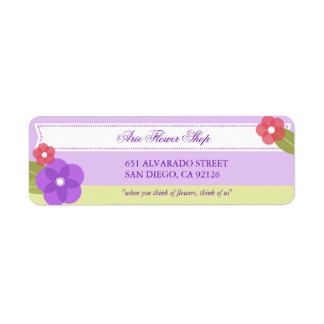 Etiqueta linda del remite de la floristería etiquetas de remite