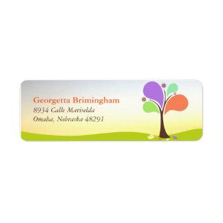 Etiqueta linda del remite del árbol etiquetas de remite