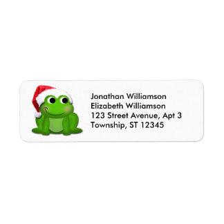 Etiqueta linda del remite del navidad de la rana etiquetas de remite