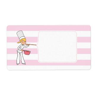 Etiqueta linda rubia del tarro del cocinero del etiquetas de envío