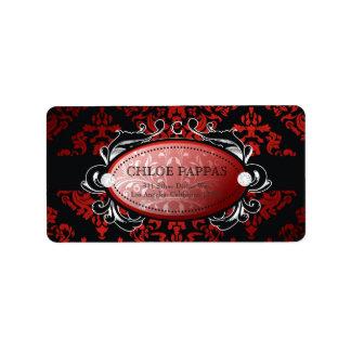 Etiqueta lujosamente roja del damasco del regaliz  etiquetas de dirección