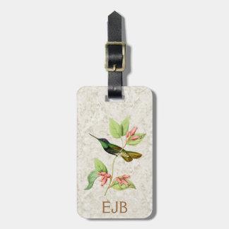 Etiqueta magnífica del equipaje del colibrí etiquetas maletas