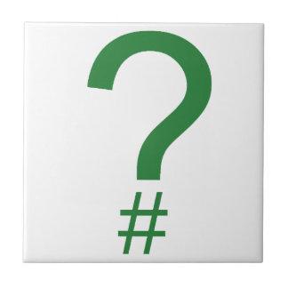 Etiqueta/marca índice verdes de la pregunta azulejo cuadrado pequeño
