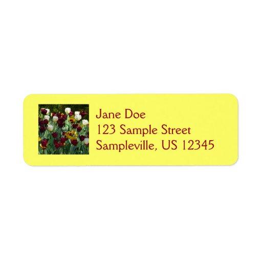 Etiqueta marrón y amarilla del remite de los tulip etiqueta de remite