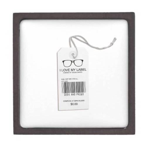 Etiqueta masculina del friki caja de regalo de calidad