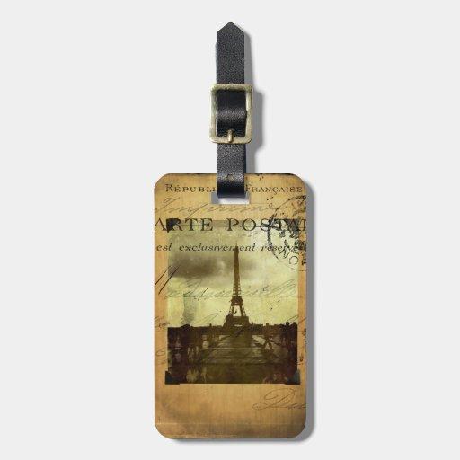 Etiqueta matasellada del equipaje de París Etiquetas Maletas