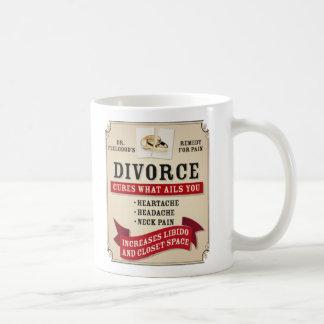 Etiqueta medicinal del divorcio taza de café