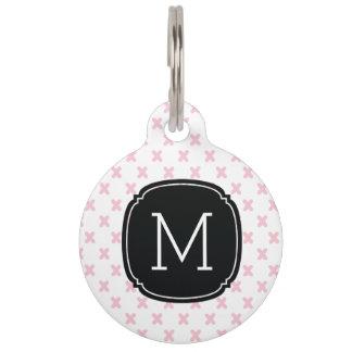 Etiqueta minúscula del mascota del monograma del placa para mascotas