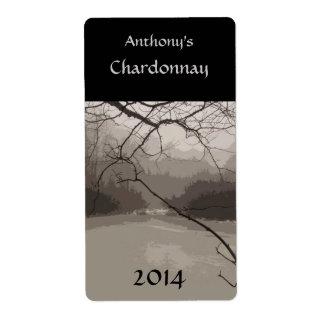 Etiqueta mística del vino de la niebla etiquetas de envío