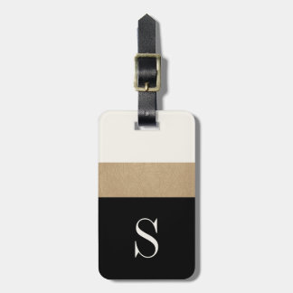 Etiqueta moderna del equipaje de la raya del oro