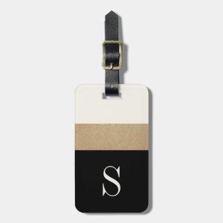 Etiqueta moderna del equipaje de la raya del oro etiquetas de maletas