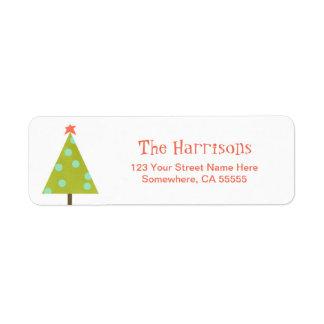 Etiqueta moderna del remite del árbol de navidad etiquetas de remite