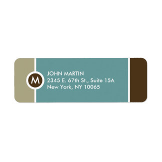 Etiqueta moderna del remite del monograma - azul/B Etiquetas De Remite