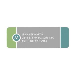 Etiqueta moderna del remite del monograma - verde/ etiqueta de remite