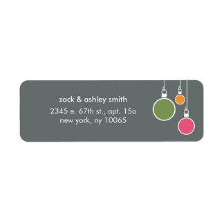 Etiqueta moderna del remite del navidad - gris etiqueta de remitente