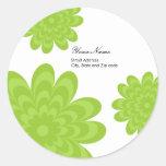Etiqueta moderna del remite - floral verde