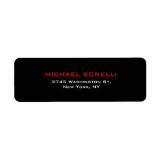 Etiqueta moderna elegante roja negra llana simple etiqueta de remite