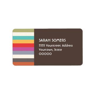 Etiqueta multi colorida retra de las rayas de la etiquetas de dirección