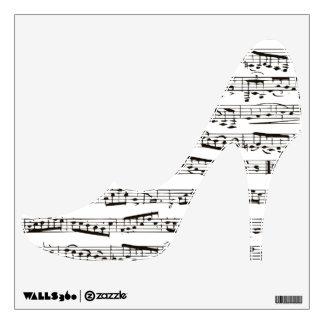 Etiqueta musical de la pared del zapato del tacón