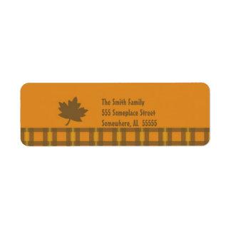 Etiqueta-Naranja y Brown del remite de la acción d Etiquetas De Remite