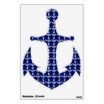Etiqueta náutica azul y blanca del ancla de la nav