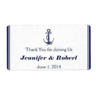 Etiqueta náutica de la botella de agua del boda de etiquetas de envío