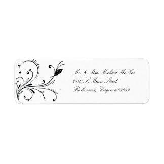 Etiqueta negra blanca simple de Avery de la voluta Etiqueta De Remite