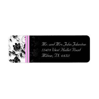 Etiqueta negra, blanca, y rosada floral del remite etiqueta de remite