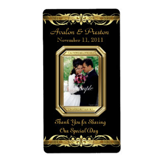 Etiqueta negra del boda del vino del oro de la etiqueta de envío