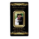 Etiqueta negra del boda del vino del oro de la gra etiqueta de envío