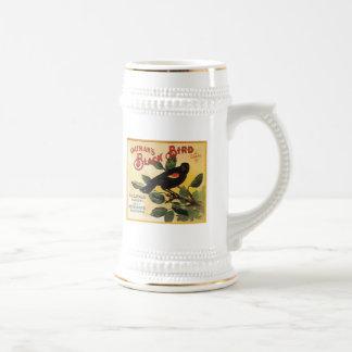 Etiqueta negra del cajón de la fruta de la marca d jarra de cerveza