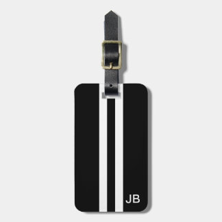 Etiqueta negra del equipaje del monograma etiqueta para maleta