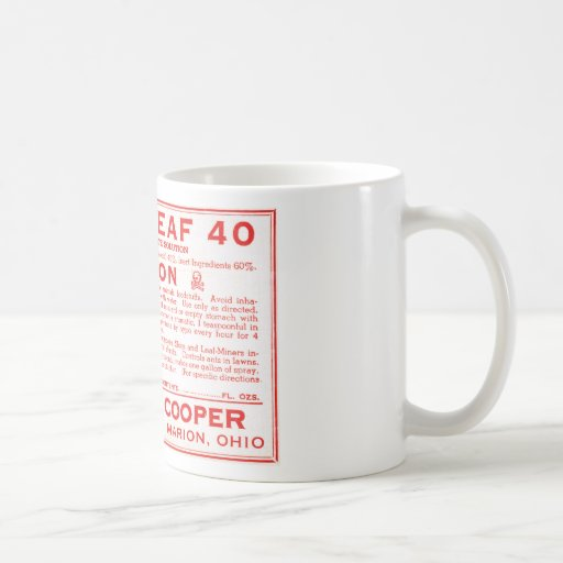 Etiqueta negra del veneno de la hoja 40 del vintag tazas de café